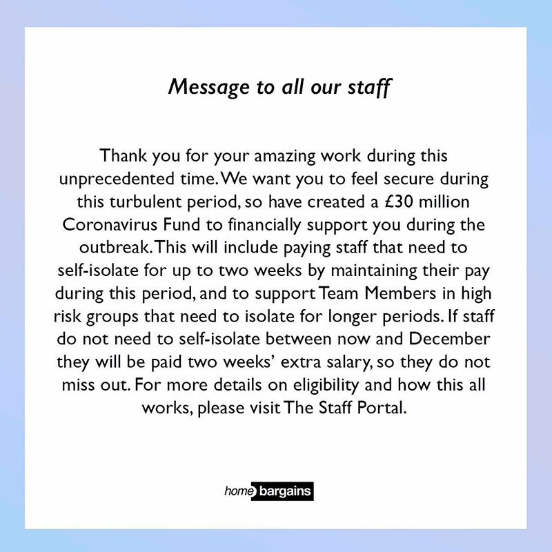 Message to all our staff